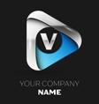 silver letter v logo in silver-blue triangle shape vector image vector image