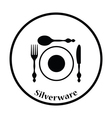 Silverware and plate icon vector image vector image