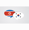 south and north korea flags on glossy speech vector image vector image