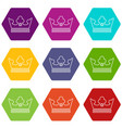 steel crown icons set 9 vector image vector image