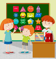 Students learning shapes in classroom vector image vector image