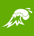 surf wave icon green vector image vector image