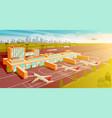 top view airport and runway flat vector image vector image