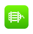 wooden barrel with tap icon digital green vector image