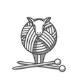 wool emblem with sheep tangle of yarn and vector image vector image