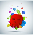 three-dimensional pixel skull background vector image
