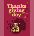 a child is hugging a turkey for thanksgiving vector image vector image