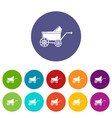 baby carriage ancient icons set color vector image vector image