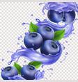 blueberry in juice splash pure vector image vector image