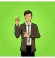 Businessman with idea pop art style vector image vector image