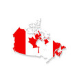 Canada flag map with shadow effect presentation vector image