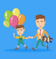 caucasian father with son go to a birthday party vector image vector image
