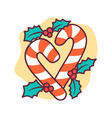 christmas and new year candy emblem icon vector image vector image
