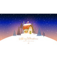 Christmas greeting card with cute little house and