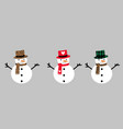 christmas snowman with carrot in hat vector image vector image