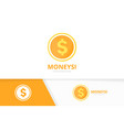 coin logo combination money and treasure vector image vector image