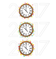 Confetti with text 2017 and vintage clock vector image vector image