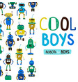 Cute cool boys robots background