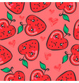 doodle of fruit style funny collection vector image vector image