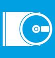 dvd drive open icon white vector image