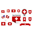 flag switzerland big set icons and vector image