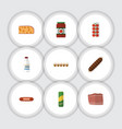 flat icon meal set of bottle ketchup smoked vector image vector image