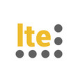 flat lte logo with signal strength dots vector image vector image