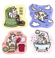 four cows characters christmas bull vector image