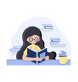 girl in flat style sitting on the table with book vector image