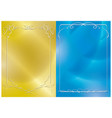 gold and blue backgrounds with white frames vector image