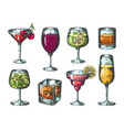 hand drawn cocktails colored glasses vector image