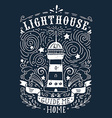 Hand drawn vintage label with a lighthouse and vector image