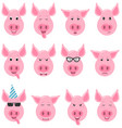 heads cool funny pig emoticon characters funny vector image vector image