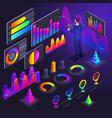 isometry business men businessmen holographic vector image vector image