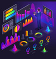 isometry of business men businessmen holographic vector image vector image