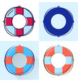 lifebuoy icon set in flat and line styles vector image
