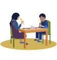 lunch in kindergarten children eat food in vector image