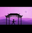man performing qigong or taijiquan exercises in vector image vector image