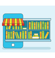 Mobile Service - library of books for read Online vector image vector image