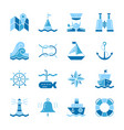 nautical color silhouette flat style icon set vector image