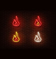 neon color fire sign isolated on brick wall vector image
