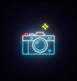 neon sign photo camera sign bright photography vector image