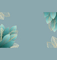pale blue frame with golden tropical leaves vector image vector image