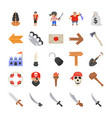 pirate costumes flat icons vector image