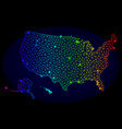 polygonal 2d spectrum mesh map of usa vector image
