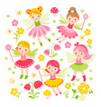 seamless with fairies and vector image vector image