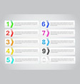 set banner with number infographics template vector image