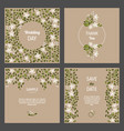 set of cards with floral design elements wedding vector image vector image