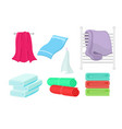 set of cartoon colorful towels vector image vector image