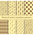 Set of musical notes seamless pattern vector image vector image